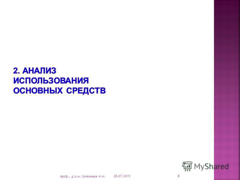 28.07.2015 4 проф., д.э.н. Селезнева Н.Н.