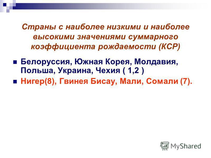 Страны с наиболее низкими и наиболее высокими значениями суммарного коэффициента рождаемости (КСР) Белоруссия, Южная Корея, Молдавия, Польша, Украина, Чехия ( 1,2 ) Нигер(8), Гвинея Бисау, Мали, Сомали (7).