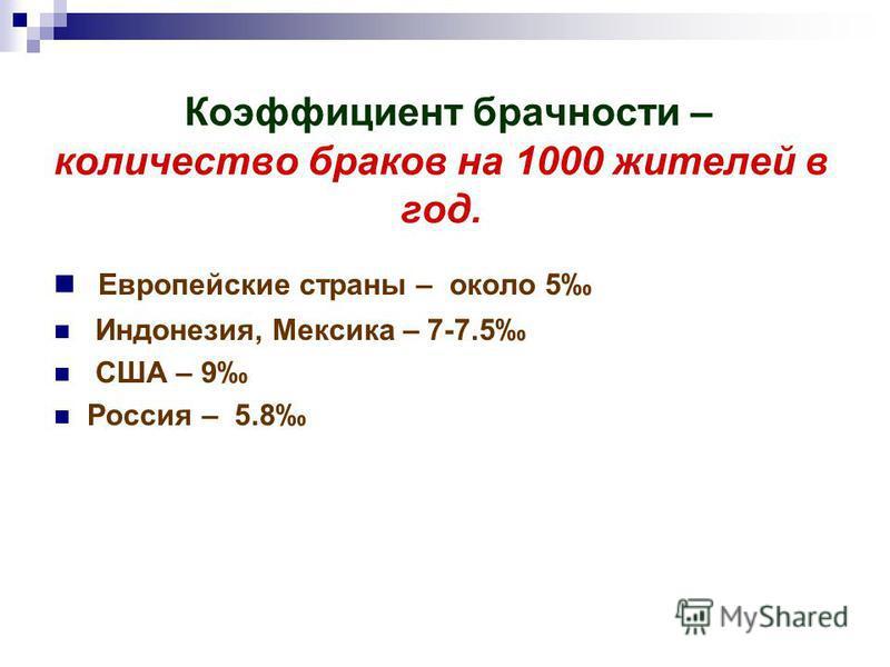 Коэффициент брачности – количество браков на 1000 жителей в год. Европейские страны – около 5 Индонезия, Мексика – 7-7.5 США – 9 Россия – 5.8