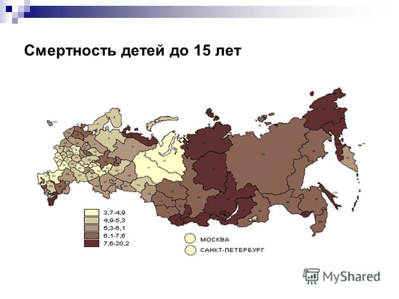 Смертность детей до 15 лет