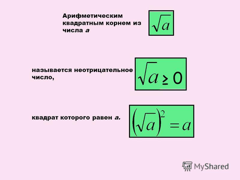 Арифметическим квадратным корнем из числа а называется неотрицательное число, 0 квадрат которого равен а.