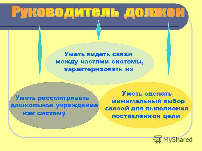 Уметь видеть связи между частями системы, характеризовать их Уметь сделать минимальный выбор связей для выполнения поставленной цели Уметь рассматривать дошкольное учреждение как систему
