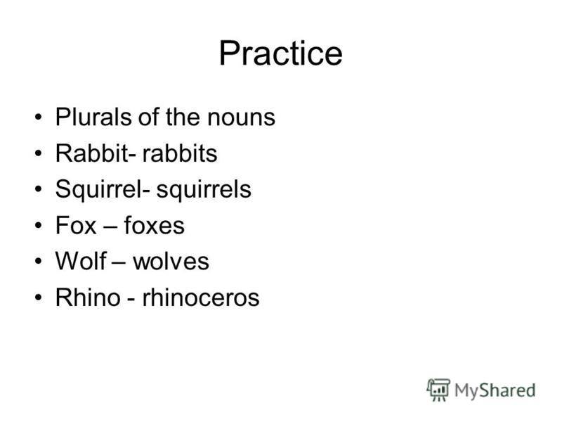 Practice Plurals of the nouns Rabbit- rabbits Squirrel- squirrels Fox – foxes Wolf – wolves Rhino - rhinoceros