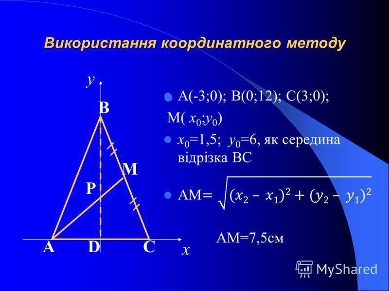 Використання координатного методу х у АDC M B P