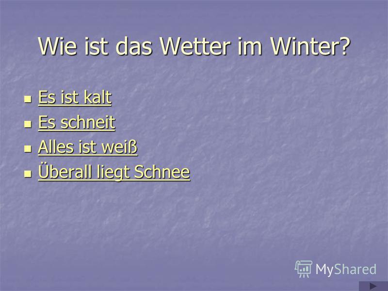 Wie ist das Wetter im Winter? Es ist kalt Es ist kalt Es ist kalt Es ist kalt Es schneit Es schneit Es schneit Es schneit Alles ist weiß Alles ist weiß Alles ist weiß Alles ist weiß Überall liegt Schnee Überall liegt Schnee Überall liegt Schnee Übera