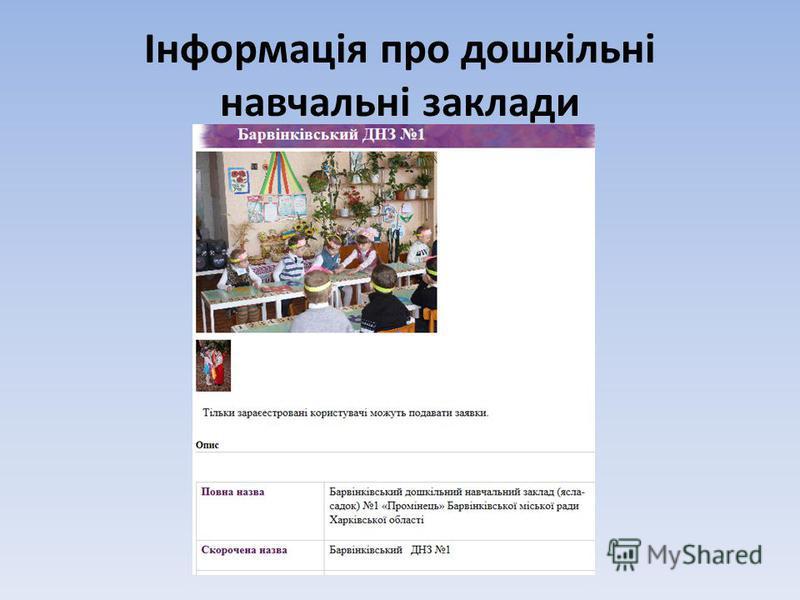 Інформація про дошкільні навчальні заклади