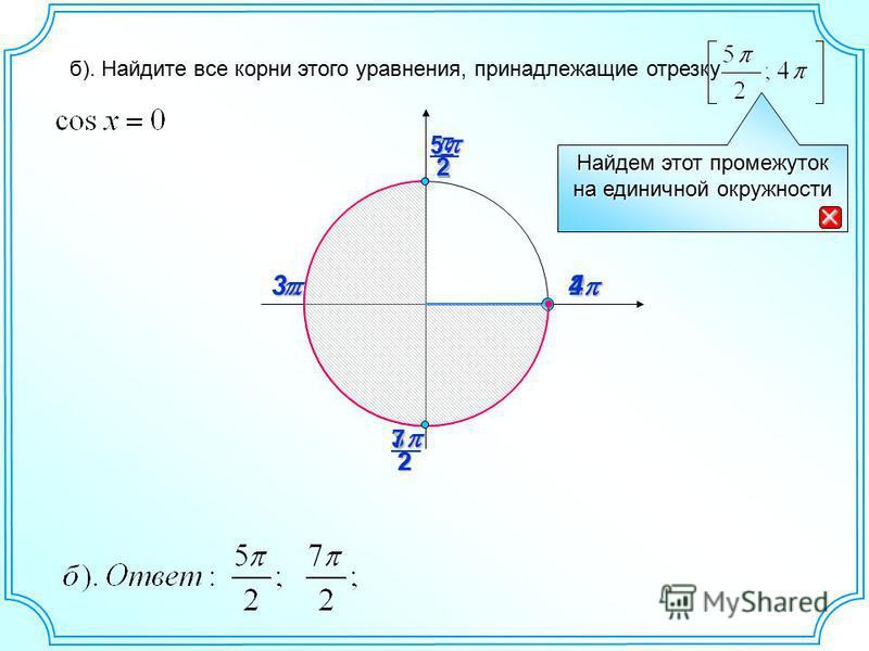 23 2 3 2 25 27 4 Найдем этот промежуток на единичной окружности