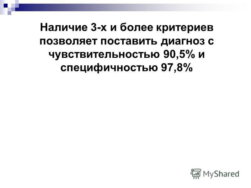 Наличие 3-х и более критериев позволяет поставить диагноз с чувствительностью 90,5% и специфичностью 97,8%
