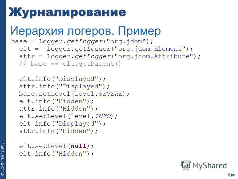 37 © Luxoft Training 2013Журналирование 9-37 Иерархия логеров. Пример