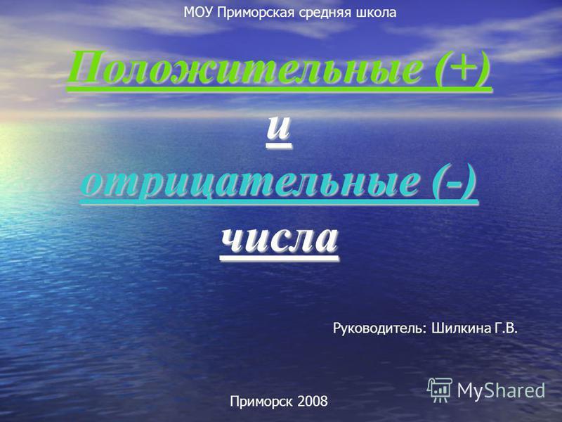 Положительные (+) и отрицательные (-) числа Руководитель: Шилкина Г.В. Приморск 2008 МОУ Приморская средняя школа