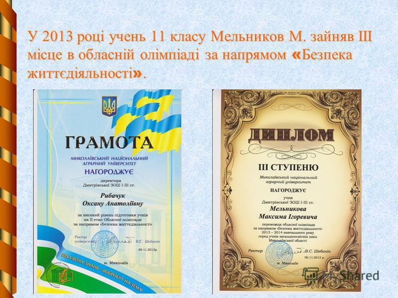 У 2013 році учень 11 класу Мельников М. зайняв ІІІ місце в обласній олімпіаді за напрямом « Безпека життєдіяльності ».