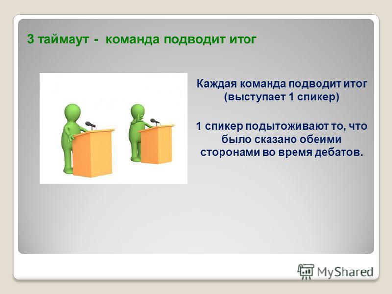 3 таймаут - команда подводит итог Каждая команда подводит итог (выступает 1 спикер) 1 спикер подытоживают то, что было сказано обеими сторонами во время дебатов.