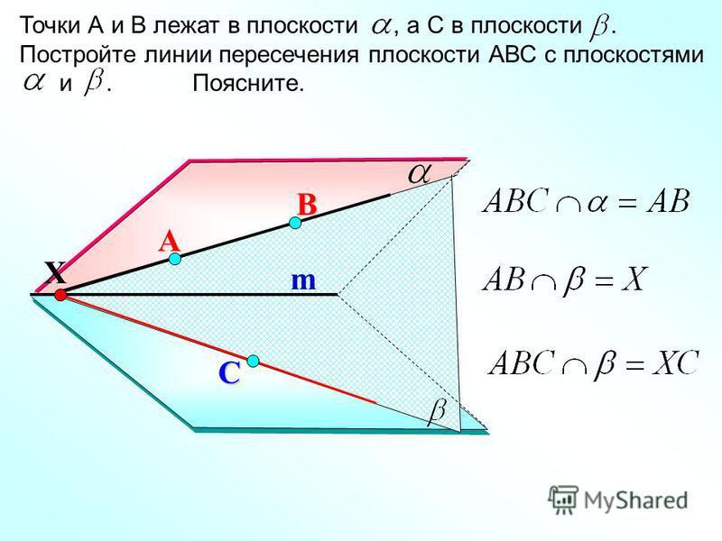 А Точки А и В лежат в плоскости, а С в плоскости. Постройте линии пересечения плоскости АВС с плоскостями и. Поясните. В С m Х