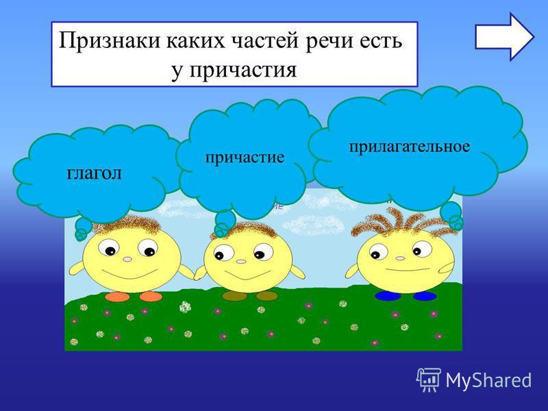 Признаки каких частей речи есть у причастия глагол причастие прилагательное