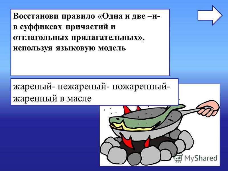 Восстанови правило «Одна и две –н- в суффиксах причастий и отглагольных прилагательных», используя языковую модель жареный- нежареный- пожаренный- жаренный в масле
