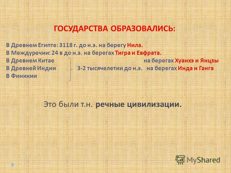 ГОСУДАРСТВА ОБРАЗОВАЛИСЬ : В Древнем Египте : 3118 г. до н. э. на берегу Нила. В Междуречии : 24 в до н. э. на берегах Тигра и Евфрата. В Древнем Китае на берегах Хуанхэ и Янцзы В Древней Индии 3-2 тысячелетии до н. э. на берегах Инда и Ганга В Финик