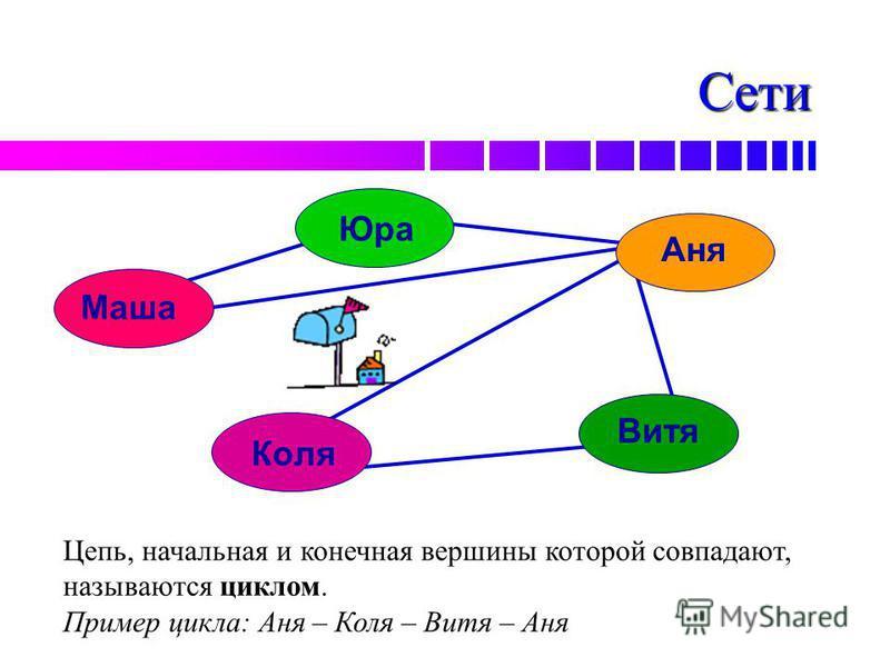Сети Маша Юра Аня Витя Коля Цепь, начальная и конечная вершины которой совпадают, называются циклом. Пример цикла: Аня – Коля – Витя – Аня