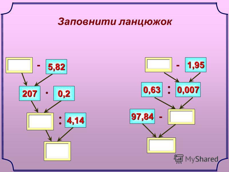 Заповнити ланцюжок 5,82 1,95 - 0,630,007 97,84 0,2207 4,14 - -