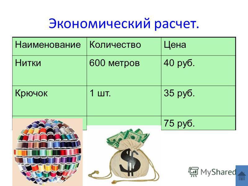 Экономический расчет. Наименование КоличествоЦена Нитки 600 метров 40 руб. Крючок 1 шт.35 руб. Всего 75 руб.