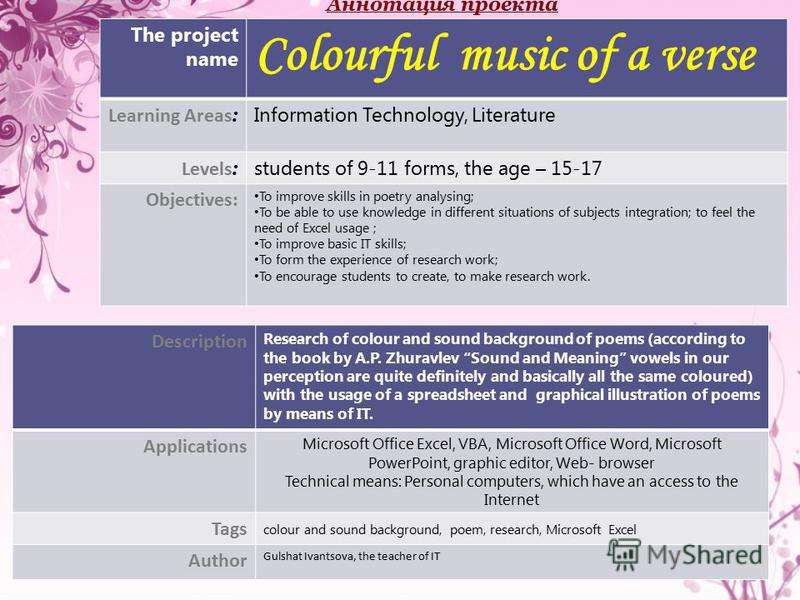 Description Research of colour and sound background of poems (according to the book by A.P. Zhuravlev Sound and Meaning vowels in our perception are quite definitely and basically all the same coloured) with the usage of a spreadsheet and graphical i