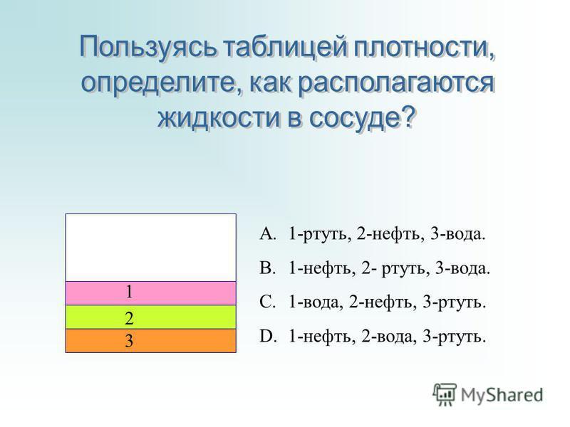 2 1 3 A.1-ртуть, 2-нефть, 3-вода. B.1-нефть, 2- ртуть, 3-вода. C.1-вода, 2-нефть, 3-ртуть. D.1-нефть, 2-вода, 3-ртуть.