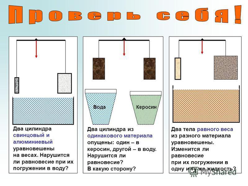 Два цилиндра свинцовый и алюминиевый уравновешены на весах. Нарушится ли равновесие при их погружении в воду? Вода Керосин Два цилиндра из одинакового материала опущены: один – в керосин, другой – в воду. Нарушится ли равновесие? В какую сторону? Два