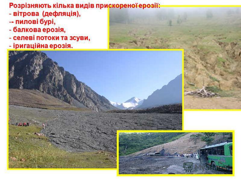 Розрізняють кілька видів прискореної ерозії: - вітрова (дефляція), -- пилові бурі, - балкова ерозія, - селеві потоки та зсуви, - іригаційна ерозія.