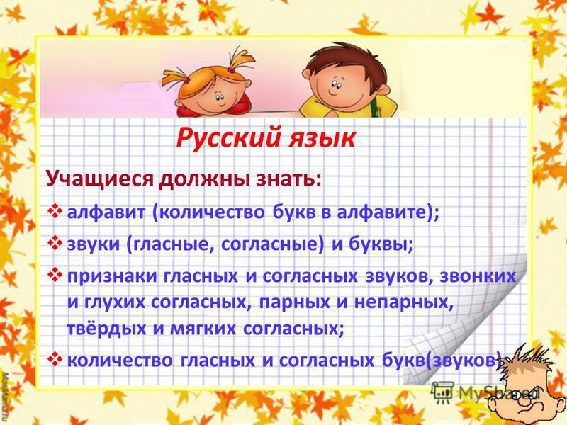 Русский язык Учащиеся должны знать: алфавит (количество букв в алфавите); звуки (гласные, согласные) и буквы; признаки гласных и согласных звуков, звонких и глухих согласных, парных и непарных, твёрдых и мягких согласных; количество гласных и согласн