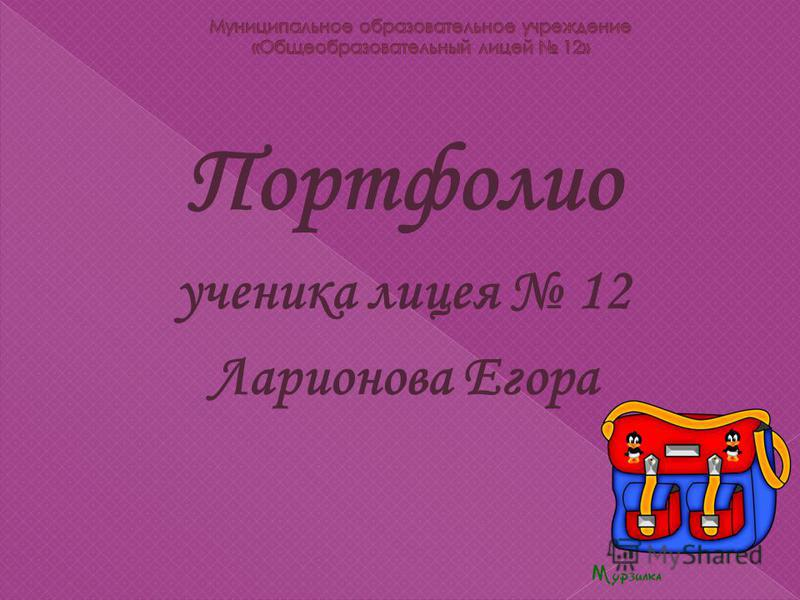 Портфолио ученика лицея 12 Ларионова Егора