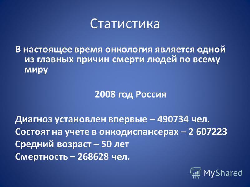 Статистика В настоящее время онкология является одной из главных причин смерти людей по всему миру 2008 год Россия Диагноз установлен впервые – 490734 чел. Состоят на учете в онкодиспансерах – 2 607223 Средний возраст – 50 лет Смертность – 268628 чел