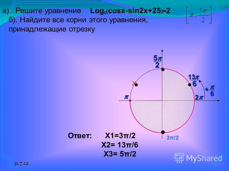 31.7.12 б). Найдите все корни этого уравнения, принадлежащие отрезку 25 613 2 6 + а). Решите уравнениеLog 5 ( cosx-sin2x+25 )= 2 3π/2 Ответ: X1=3π/2 X2= 13π/6 X3= 5π/2