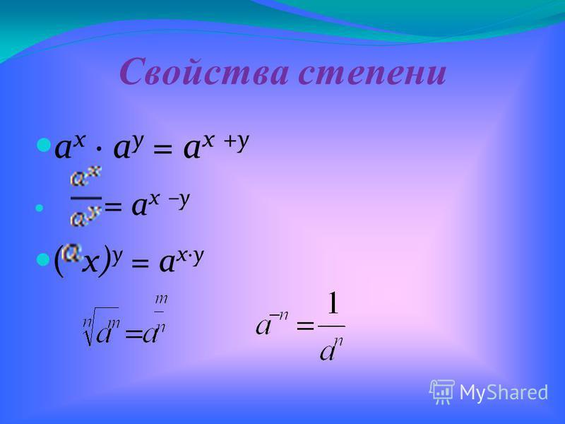 Свойства степени а х · а у = а х +у = a x –y ( x) y = a x·y