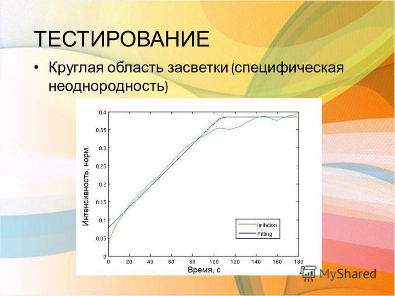 ТЕСТИРОВАНИЕ Круглая область засветки ( специфическая неоднородность )