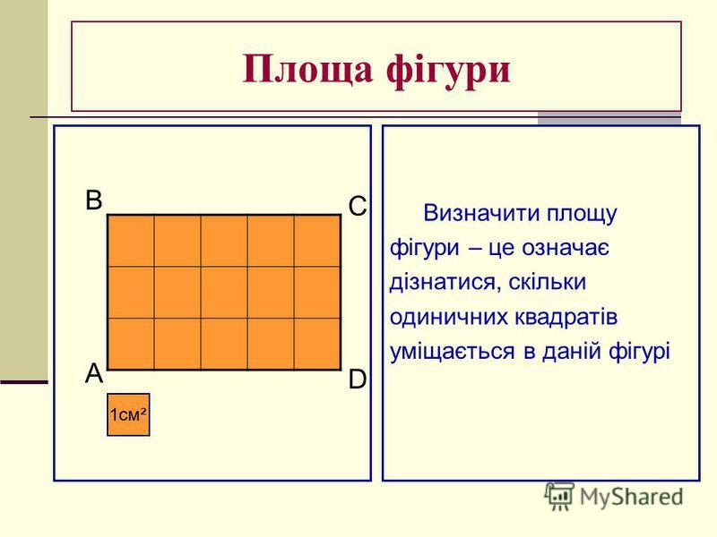 Площа фігури Визначити площу фігури – це означає дізнатися, скільки одиничних квадратів уміщається в даній фігурі 1см² B A C D