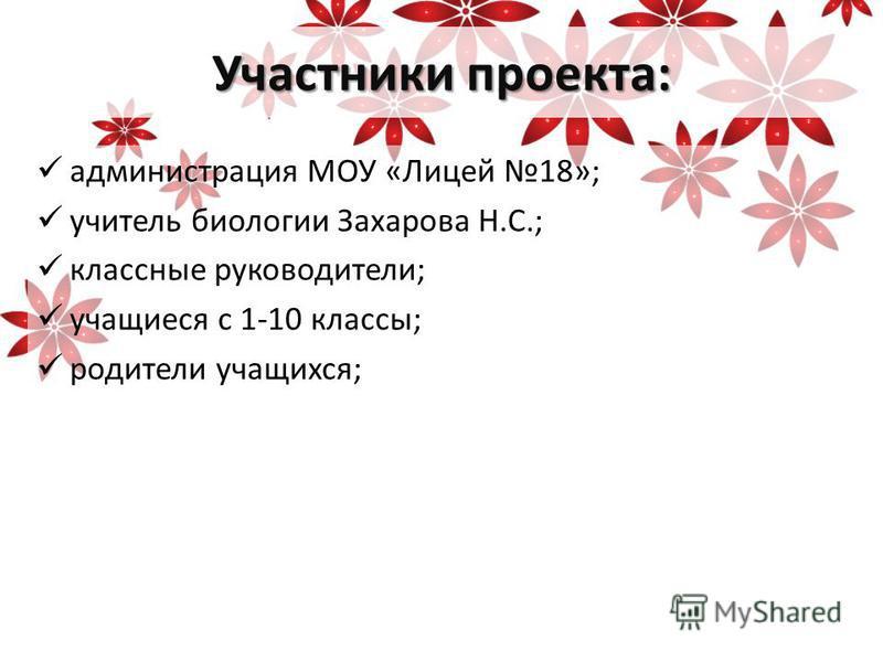 Участники проекта: администрация МОУ «Лицей 18»; учитель биологии Захарова Н.С.; классные руководители; учащиеся с 1-10 классы; родители учащихся;