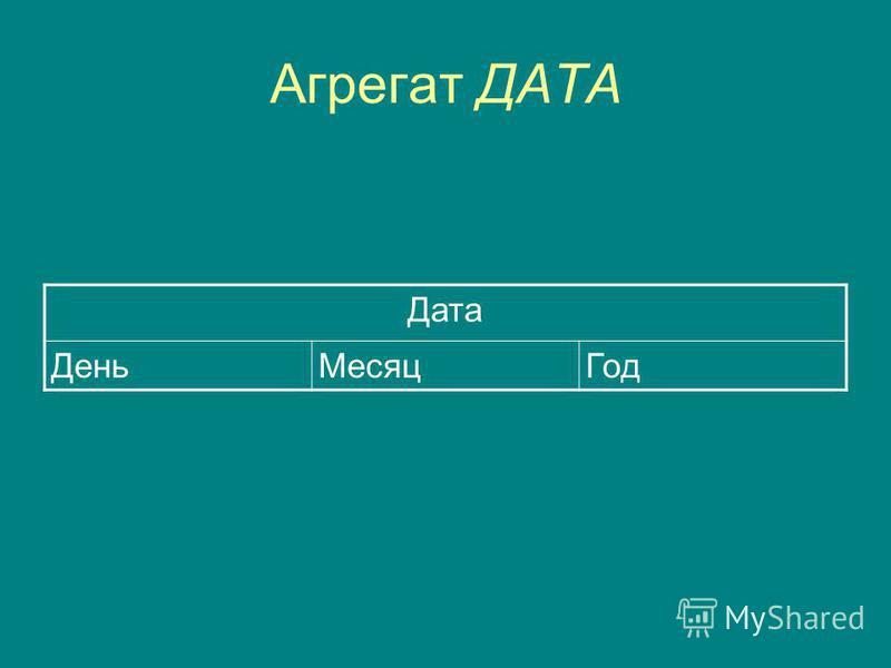 Агрегат ДАТА Дата День МесяцГод