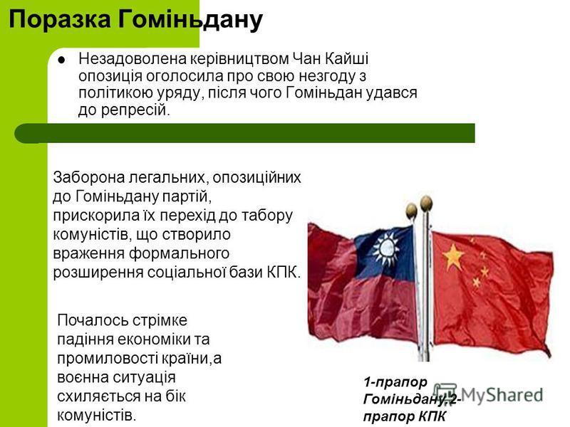 Поразка Гоміньдану Незадоволена керівництвом Чан Кайші опозиція оголосила про свою незгоду з політикою уряду, після чого Гоміньдан удався до репресій. Заборона легальних, опозиційних до Гоміньдану партій, прискорила їх перехід до табору комуністів, щ