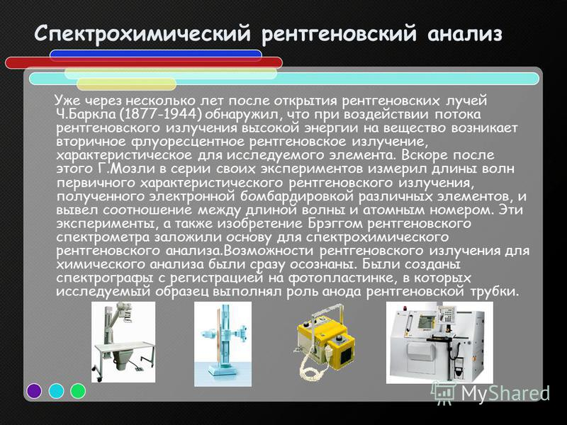 Спектрохимический рентгеновский анализ Уже через несколько лет после открытия рентгеновских лучей Ч.Баркла (1877-1944) обнаружил, что при воздействии потока рентгеновского излучения высокой энергии на вещество возникает вторичное флуоресцентное рентг
