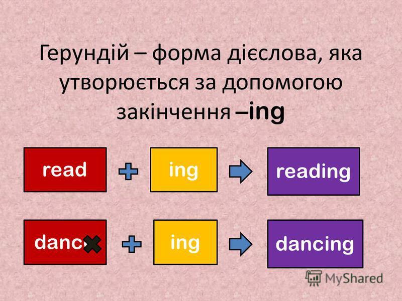 Герундій – форма дієслова, яка утворюється за допомогою закінчення – ing reading reading danceing dancing