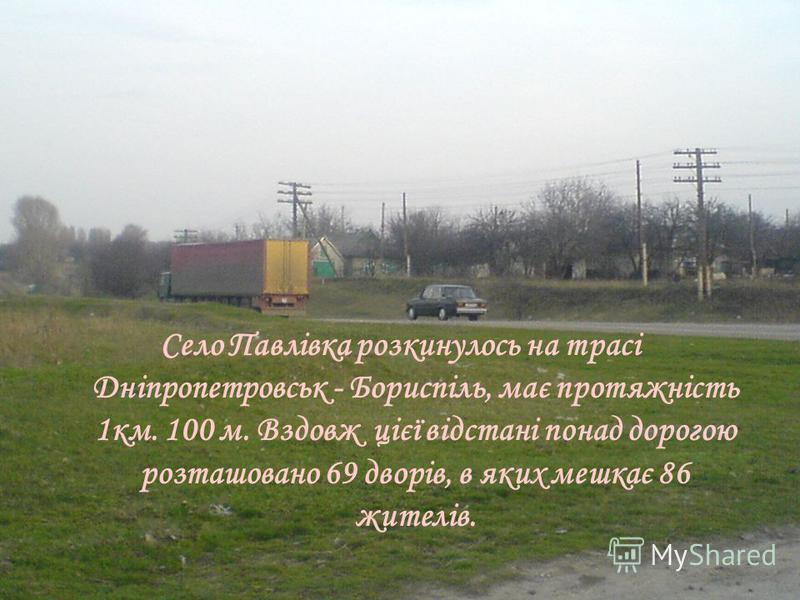 Село Павлівка розкинулось на трасі Дніпропетровськ - Бориспіль, має протяжність 1км. 100 м. Вздовж цієї відстані понад дорогою розташовано 69 дворів, в яких мешкає 86 жителів.