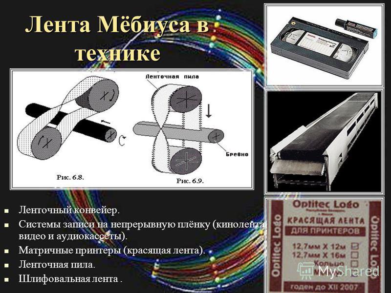 Лента Мёбиуса в технике Ленточный конвейер. Системы записи на непрерывную плёнку (кинолента, видео и аудиокассеты). Матричные принтеры (красящая лента). Ленточная пила. Шлифовальная лента.