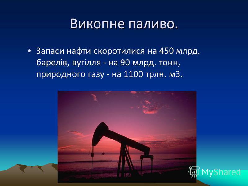 Викопне паливо. Запаси нафти скоротилися на 450 млрд. барелів, вугілля - на 90 млрд. тонн, природного газу - на 1100 трлн. м3.