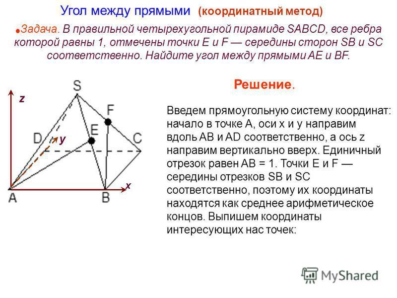 Задача. В правильной четырехугольной пирамиде SABCD, все ребра которой равны 1, отмечены точки E и F середины сторон SB и SC соответственно. Найдите угол между прямыми AE и BF. Угол между прямыми (координатный метод) Введем прямоугольную систему коор