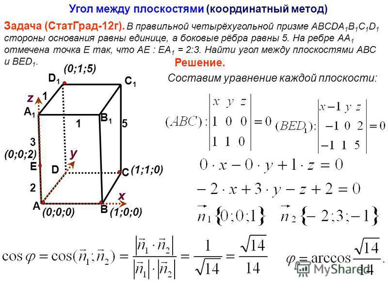Задача (Стат Град-12 г). В правильной четырёхугольной призме ABCDA 1 B 1 C 1 D 1 стороны основания равны единице, а боковые рёбра равны 5. На ребре АА 1 отмечена точка Е так, что АЕ : ЕА 1 = 2:3. Найти угол между плоскостями АВС и ВЕD 1. Угол между п