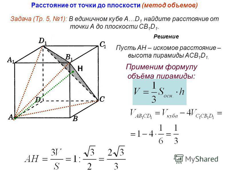 Задача (Тр. 5, 1): В единичном кубе А…D 1 найдите расстояние от точки А до плоскости СB 1 D 1. Решение Применим формулу объёма пирамиды: Пусть АН – искомое расстояние – высота пирамиды ACB 1 D 1. Н Расстояние от точки до плоскости (метод объемов)