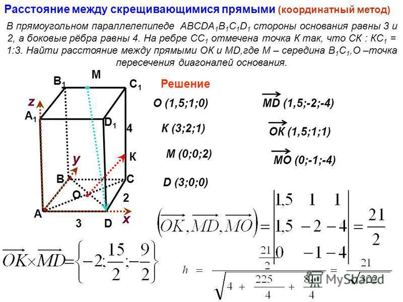 Расстояние между скрещивающимися прямыми (координатный метод) В прямоугольном параллелепипеде ABCDA 1 B 1 C 1 D 1 стороны основания равны 3 и 2, а боковые рёбра равны 4. На ребре СС 1 отмечена точка К так, что СК : КС 1 = 1:3. Найти расстояние между