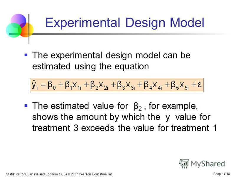 Statistics for Business and Economics, 6e © 2007 Pearson Education, Inc. Chap 14-14 The experimental design model can be estimated using the equation The estimated value for β 2, for example, shows the amount by which the y value for treatment 3 exce