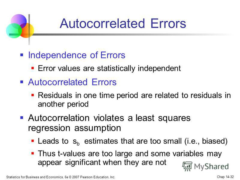 Statistics for Business and Economics, 6e © 2007 Pearson Education, Inc. Chap 14-32 Autocorrelated Errors Independence of Errors Error values are statistically independent Autocorrelated Errors Residuals in one time period are related to residuals in
