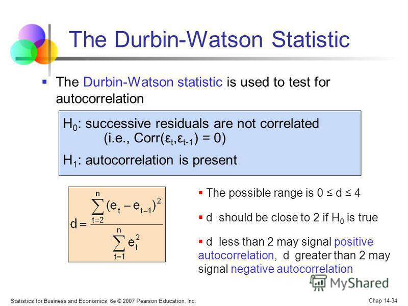 Statistics for Business and Economics, 6e © 2007 Pearson Education, Inc. Chap 14-34 The Durbin-Watson Statistic The possible range is 0 d 4 d should be close to 2 if H 0 is true d less than 2 may signal positive autocorrelation, d greater than 2 may