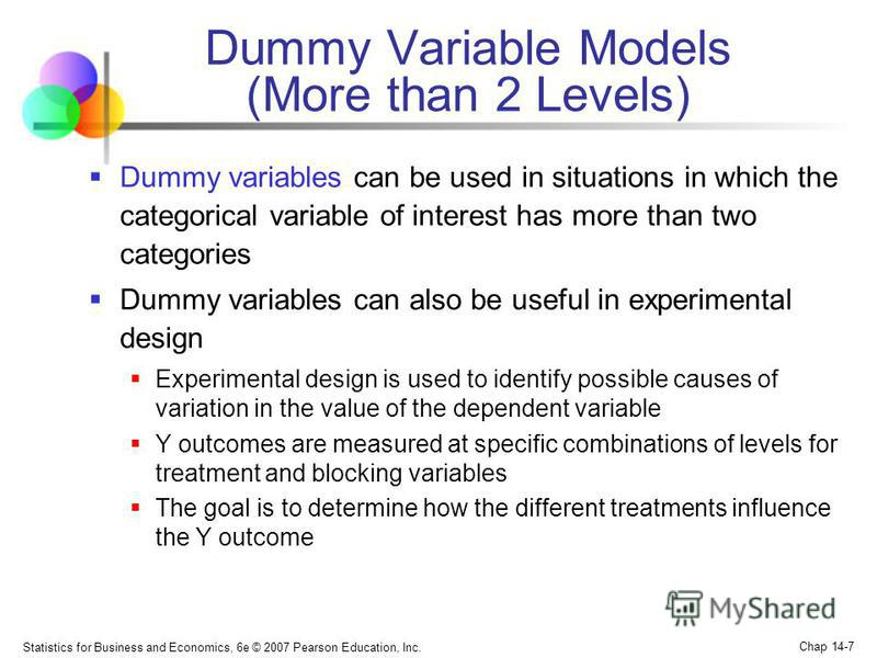 Statistics for Business and Economics, 6e © 2007 Pearson Education, Inc. Chap 14-7 Dummy Variable Models (More than 2 Levels) Dummy variables can be used in situations in which the categorical variable of interest has more than two categories Dummy v